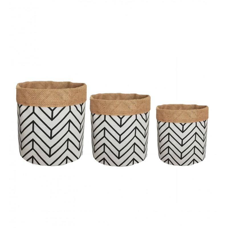 3 Cache-pots paniers en tissu décor géométrique et jute D16/18/20cm