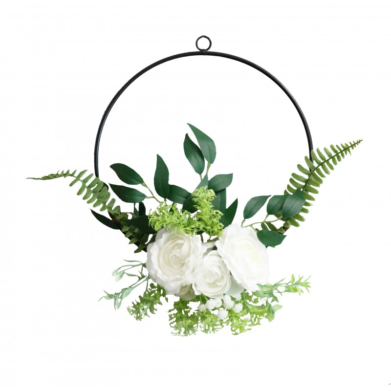 Couronne de fleurs artificielles blanches et de feuillages D27cm