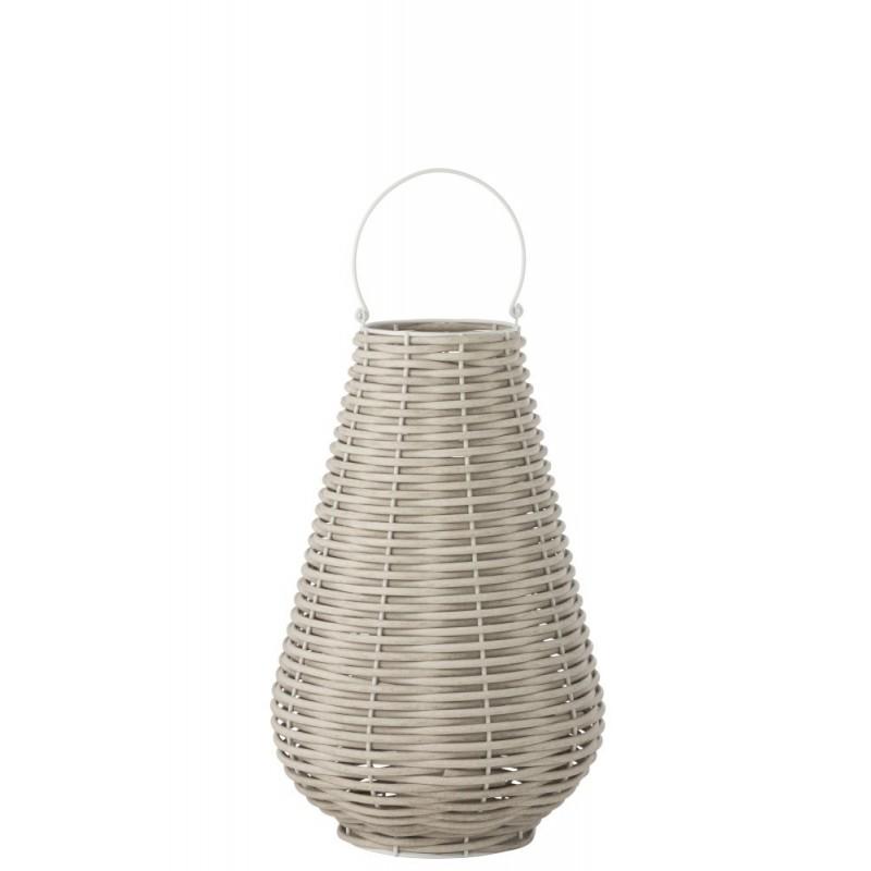 Lanterne tissée Led plastique blanc H77,5cm