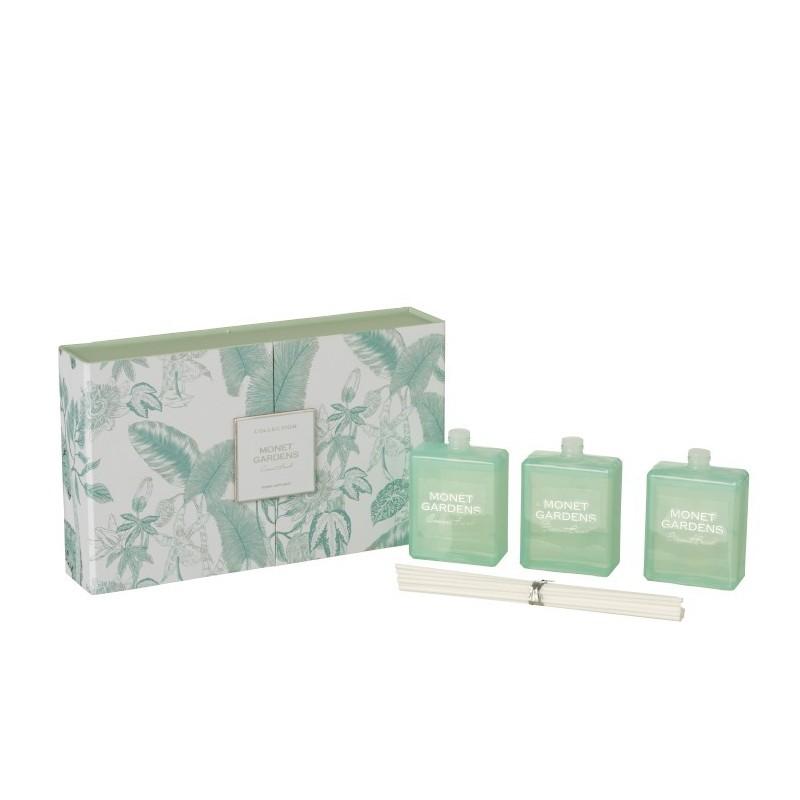 Boîte 3 huiles parfumée azur H13,3cm