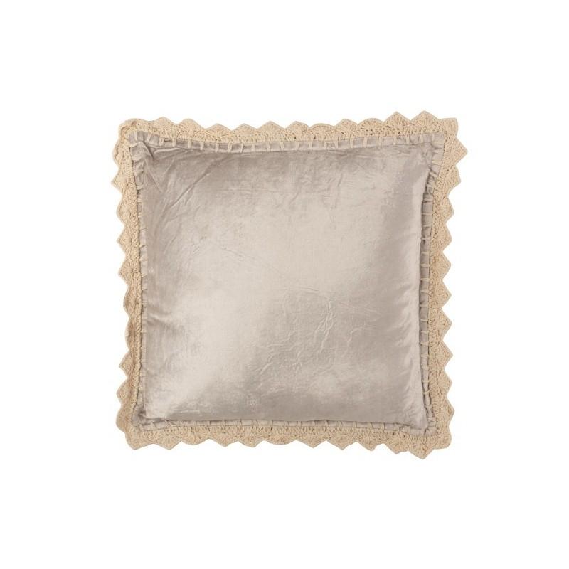 Coussin bord viscose carré gris 45x45