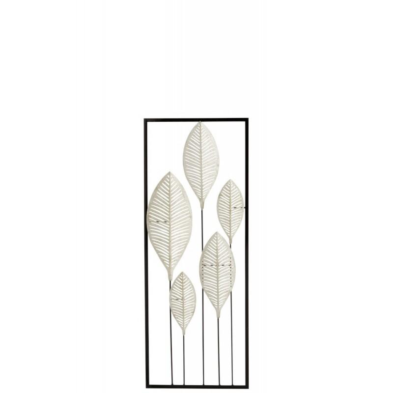 Décoration murale feuilles métal argent 28,5x74,5cm