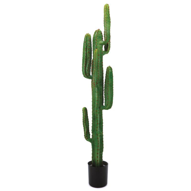 Grand cactus artificiel en pot plastique rond noir 160cm