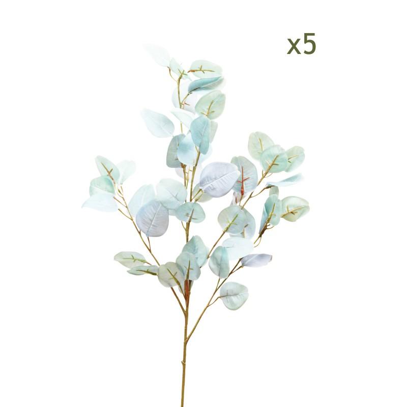 5 branches d'eucalyptus effet blanchi 88cm