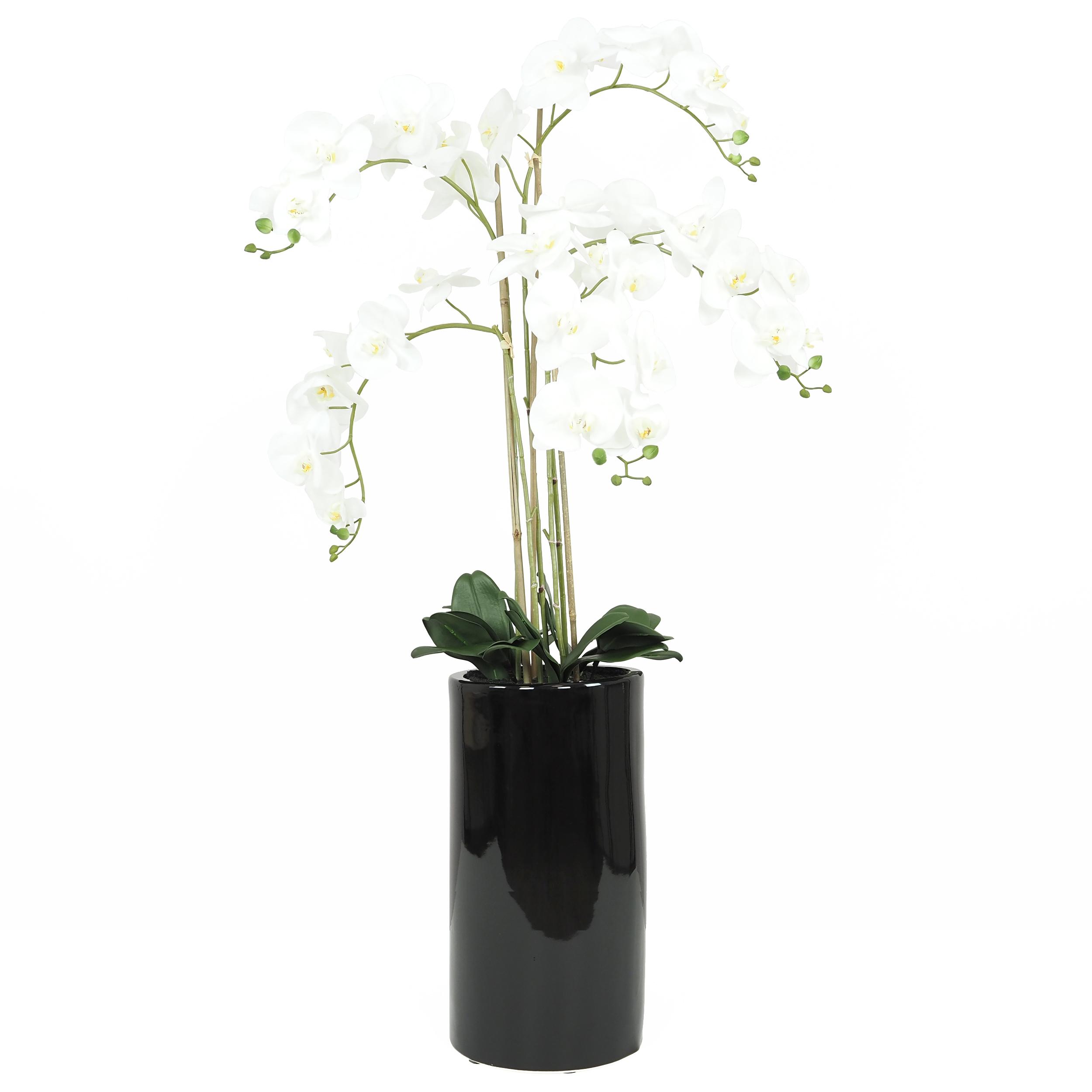 Orchidée artificielle blanche géante pot noir brillant 135cm