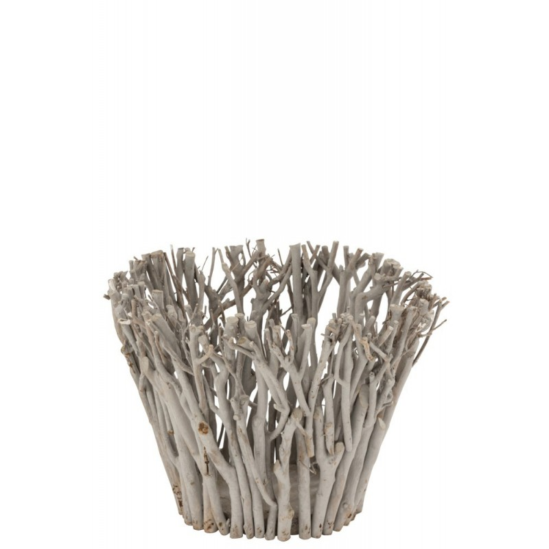 Bougeoir branches avec verre bois gris H30cm