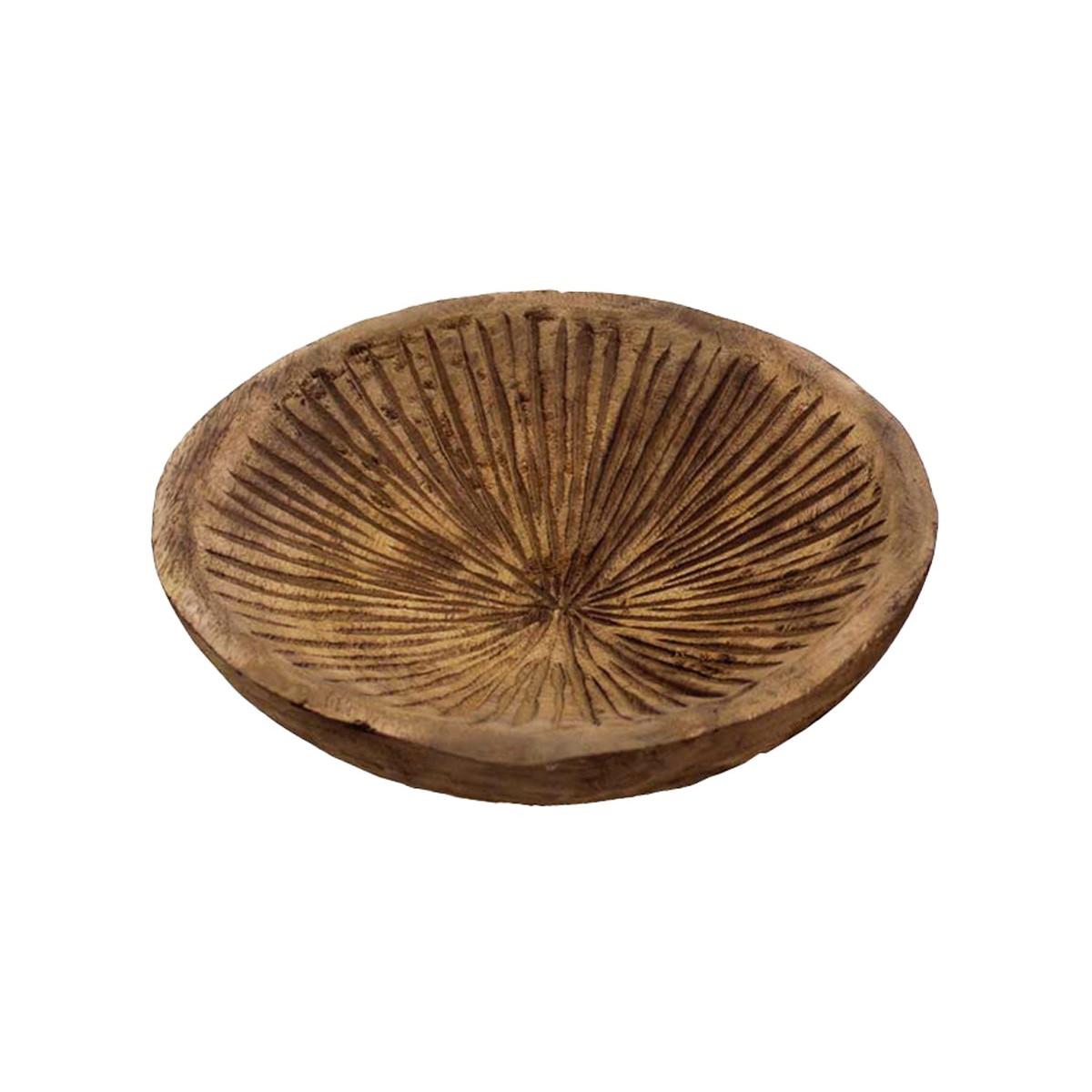 Coupe en bois strié Naturel 24x24x7 cm