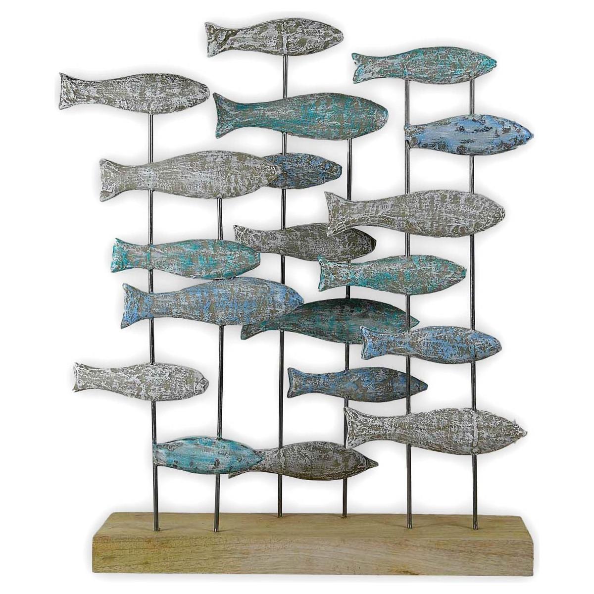 Banc de poissons bois  Bleu 46x10x74 cm