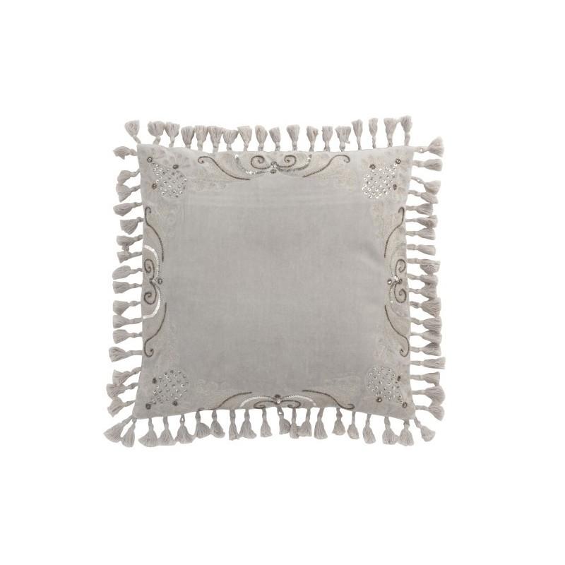 Coussin Marocain bords floches velours gris 45x45