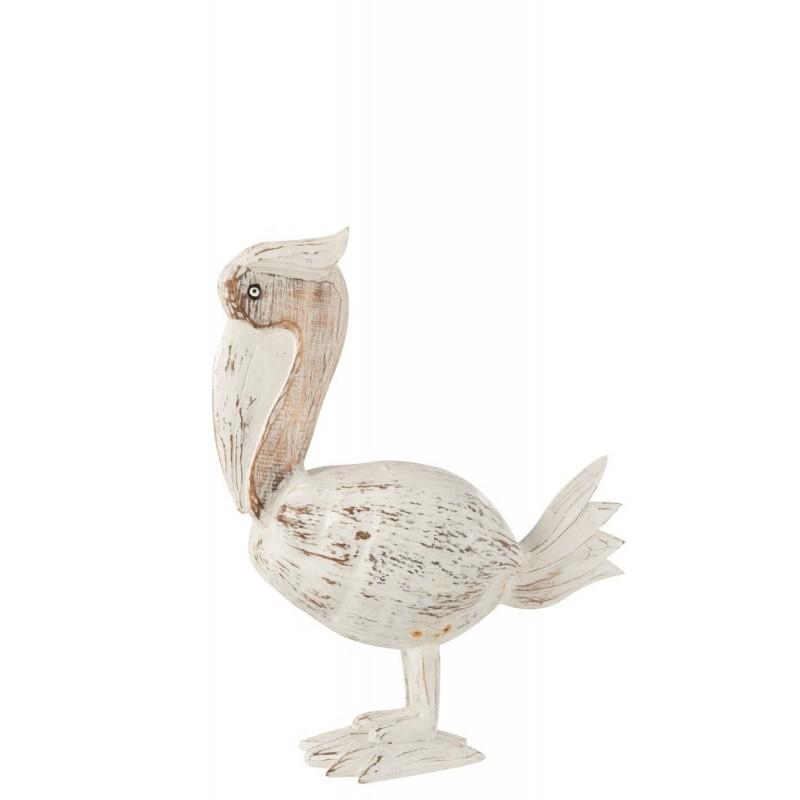Pélican noix de coco/bois albasia blanc H35cm