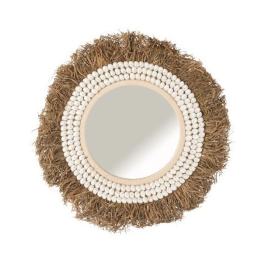 Miroir coquillages/raphia D68cm