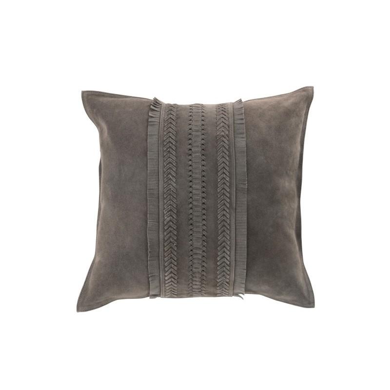 Coussin carré cuir gris 45x45