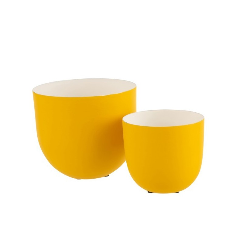 Set 2 bols métal laqué blanc/jaune H15cm