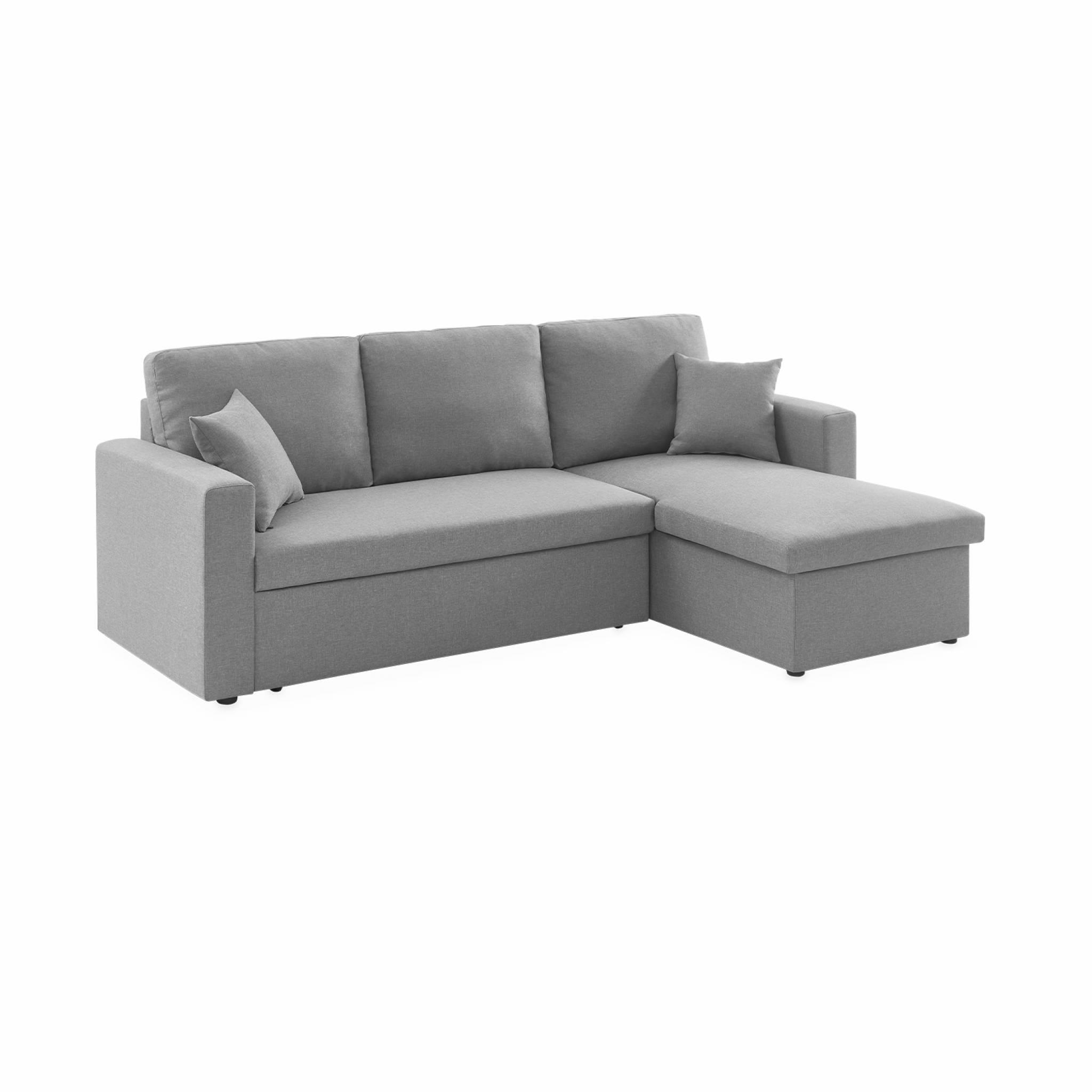 Canapé d'angle convertible 3 places en tissu gris clair
