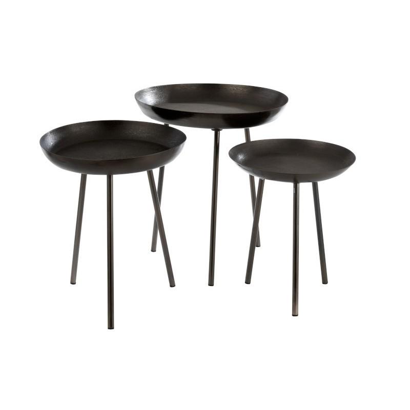 Set de 3 tables gigognes plateau rond métal mat gris foncé H56cm