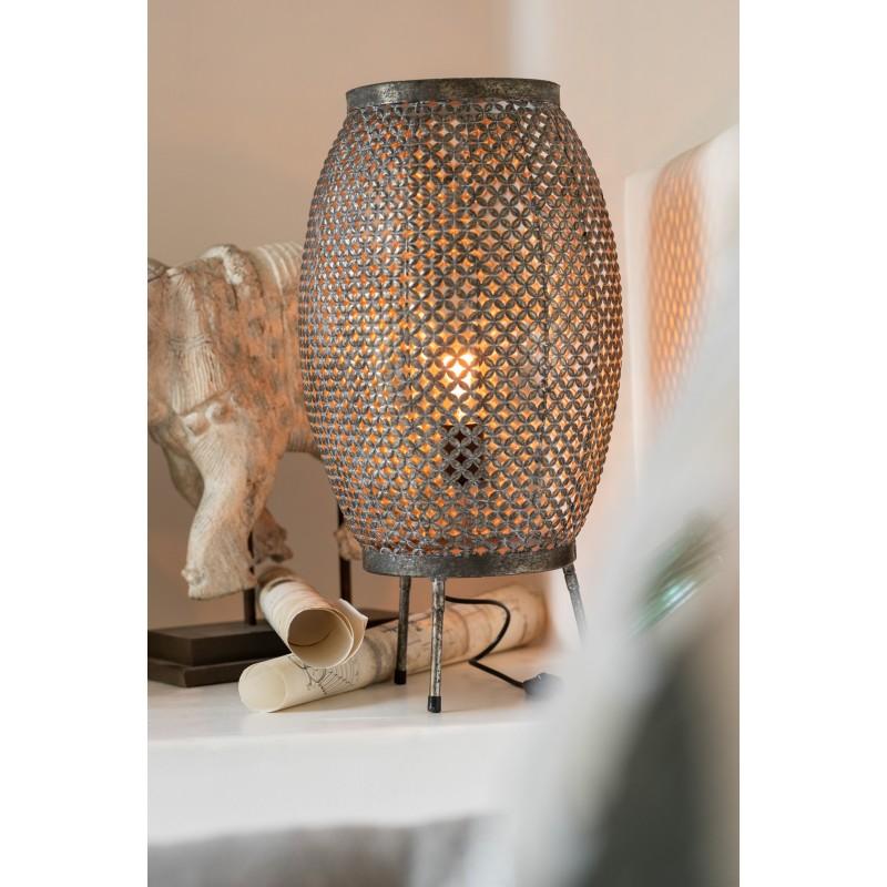 Lampe ajourée métal gris H59cm