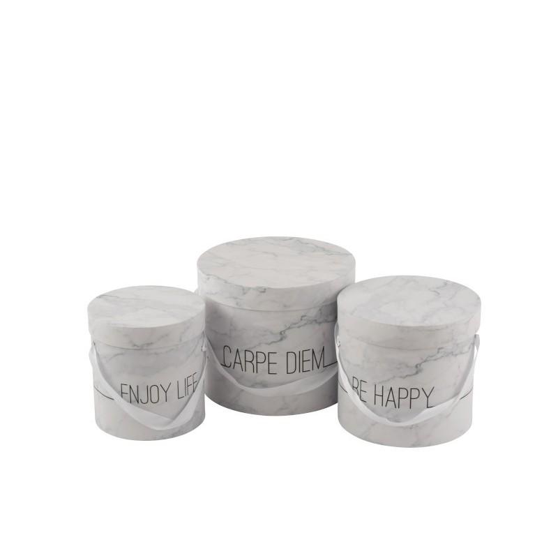 Set de 3 boîtes hautes blanc/argent H23cm