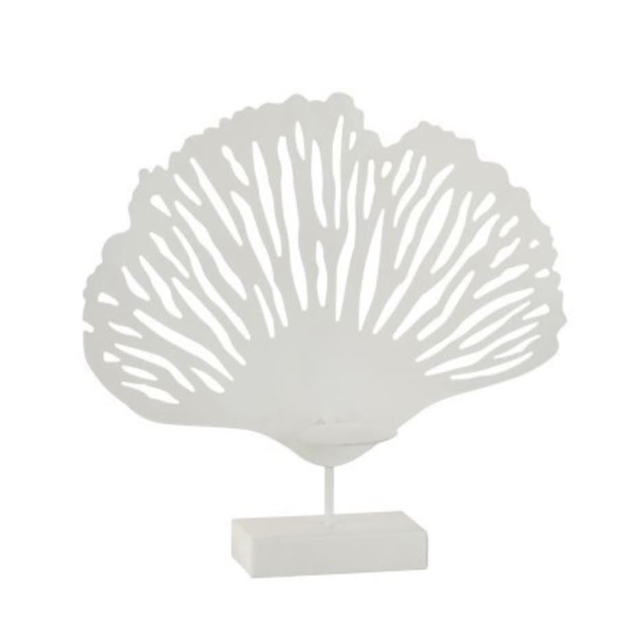 Bougeoir feuille métal blanc H37,5cm