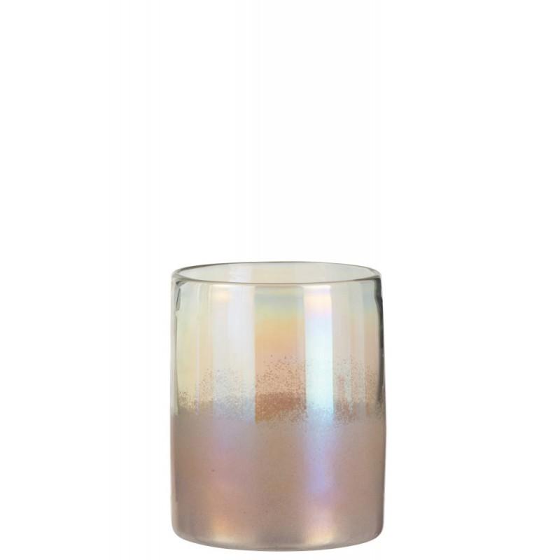 Vase haut verre rose H20,5cm