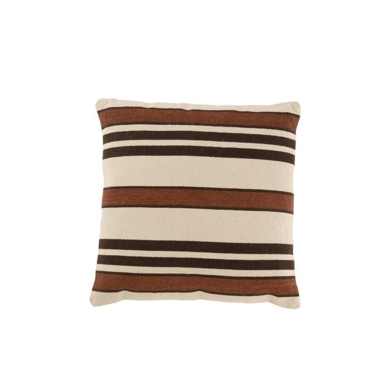 Coussin carré coton beige/marron/noir 45x45