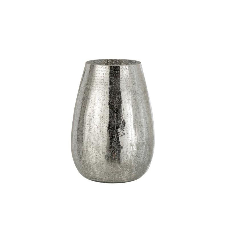 Photophore craquelé verre argent H26,5cm