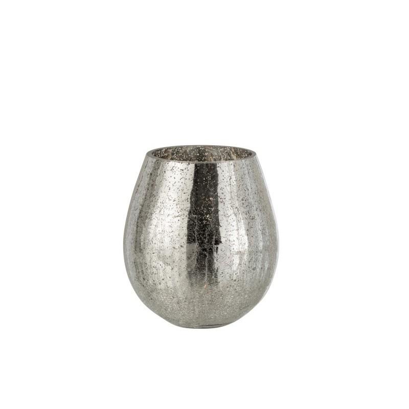 Photophore craquelé verre argent H21,5cm
