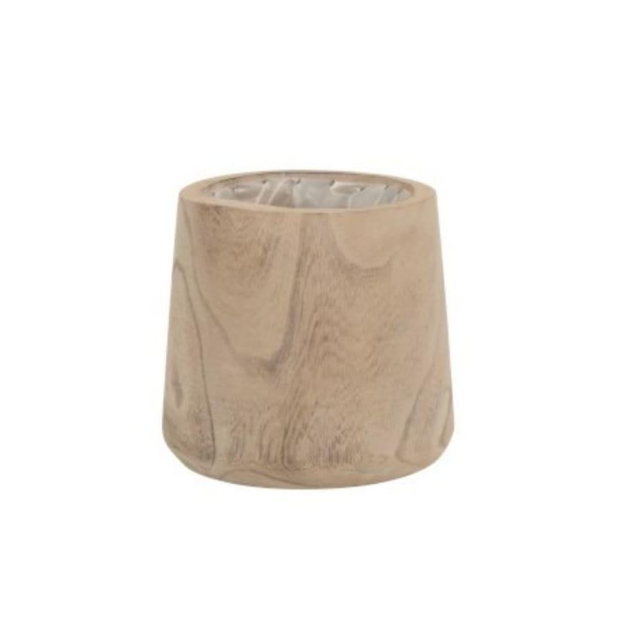 Cache-pot bois de paulownia + plastique H19cm