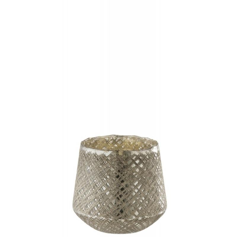 Photophore conique verre antique argent H20cm