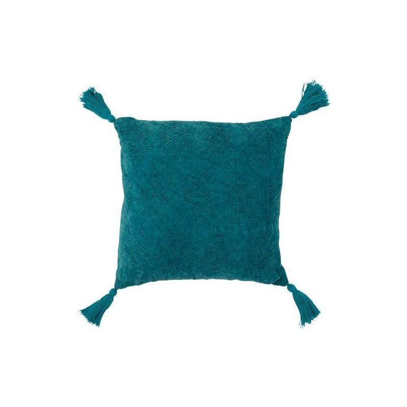 Coussin carré coton turquoise 45x45