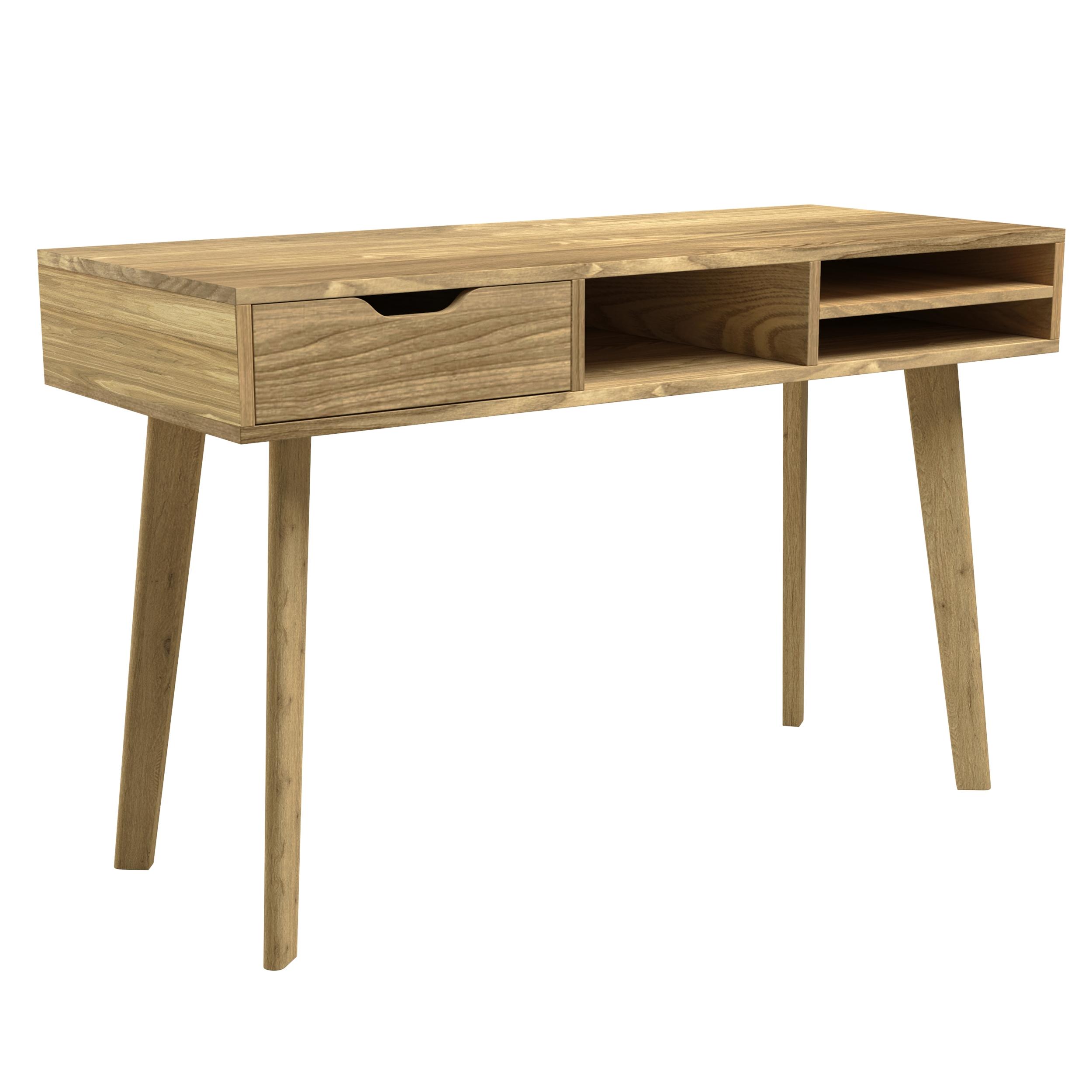 Bureau 1 tiroir et 3 niches en bois clair