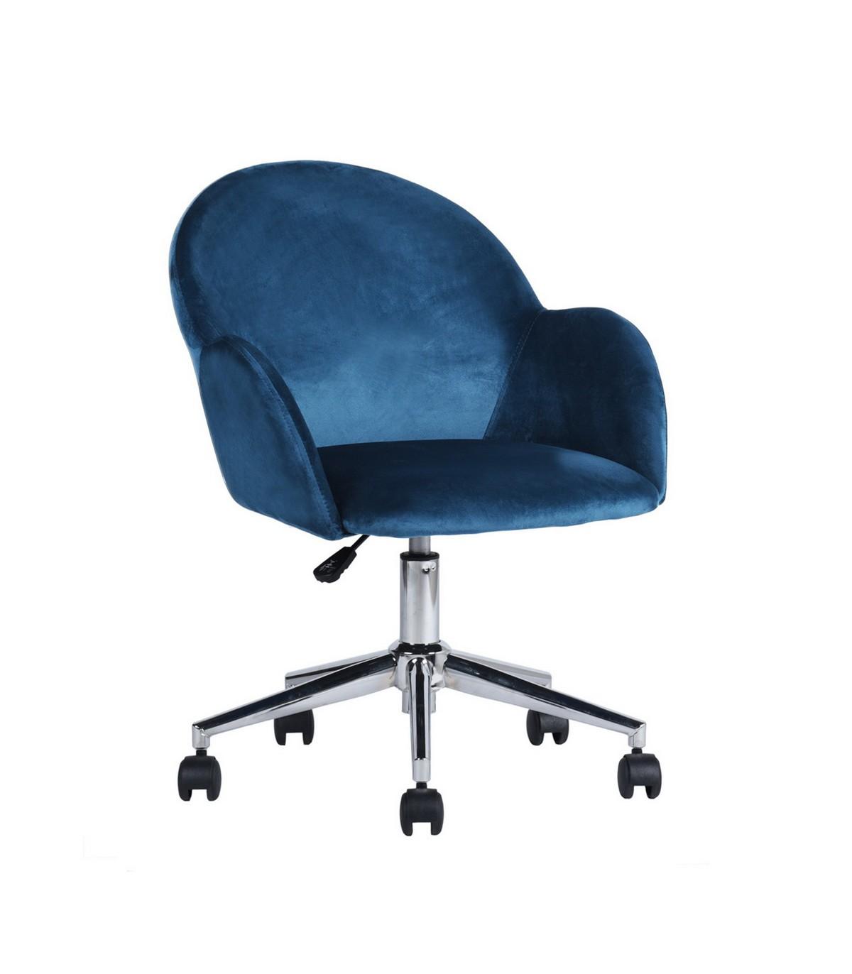 Chaise de bureau à roulettes avec accoudoirs - Bleu