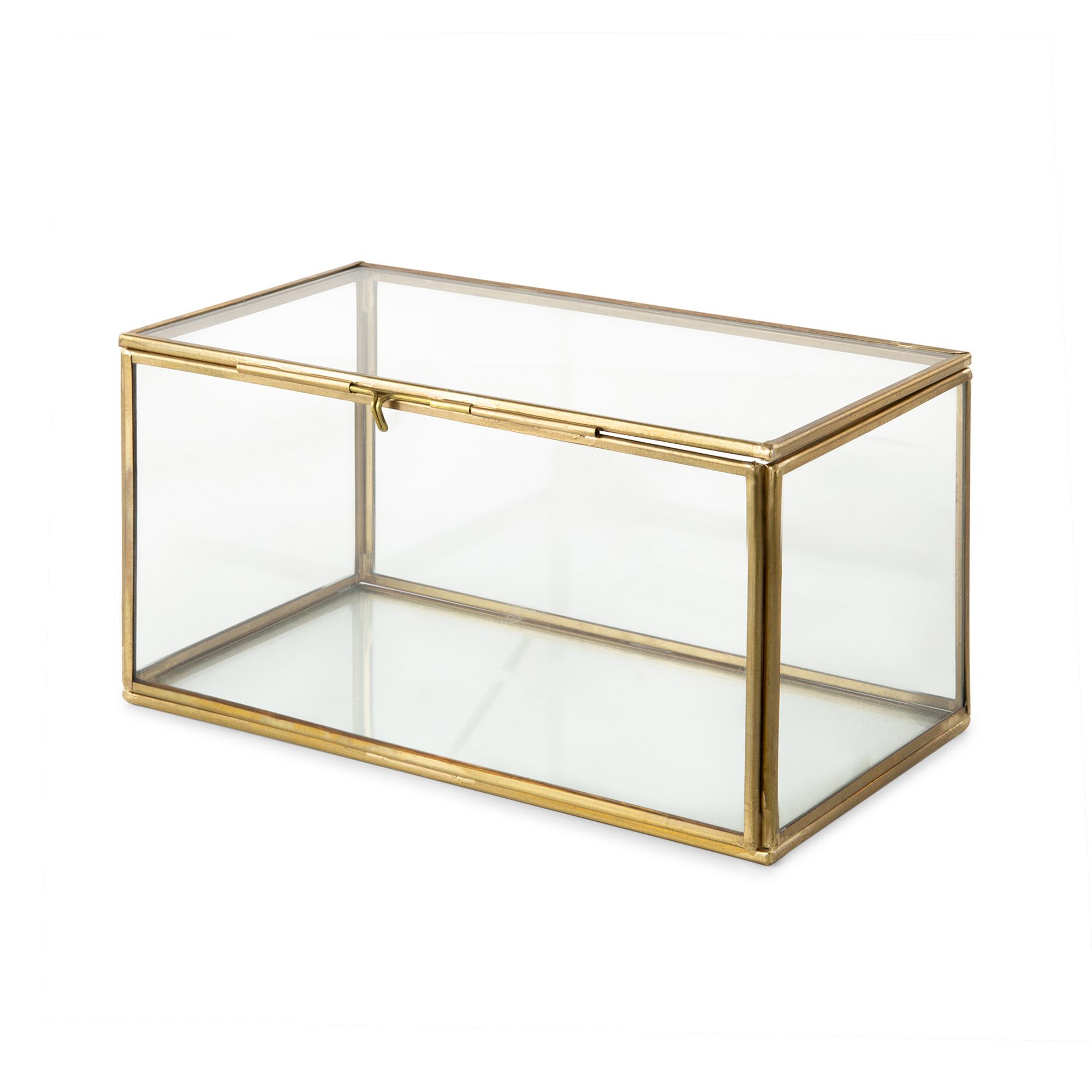 Boîte à bijoux en verre et laiton 21x13cm