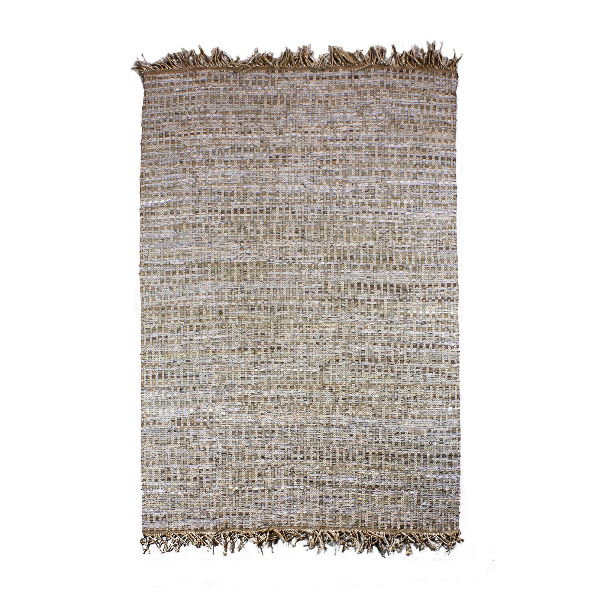 Tapis en cuir, jute et coton 230x160 cm