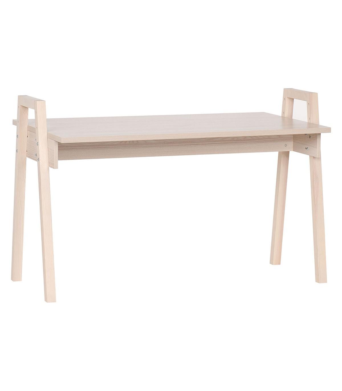 Bureau décor bois et pieds en chêne massif L128 cm - Beige