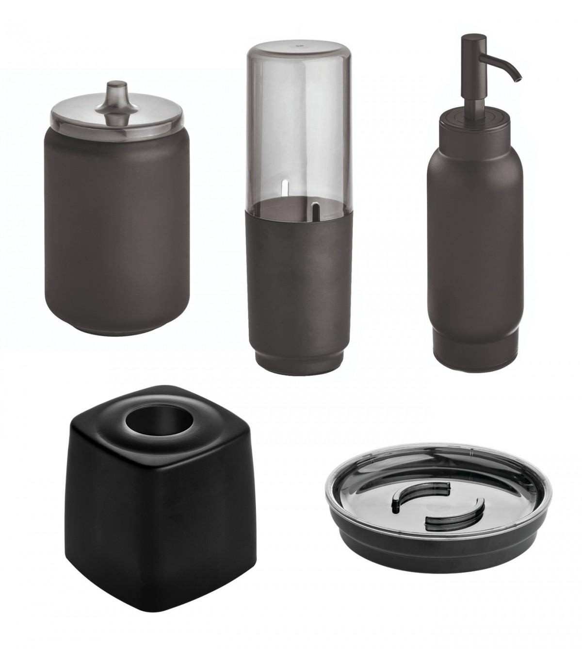 Ensemble d'accessoires de lavabo pour salle de bain - Noir