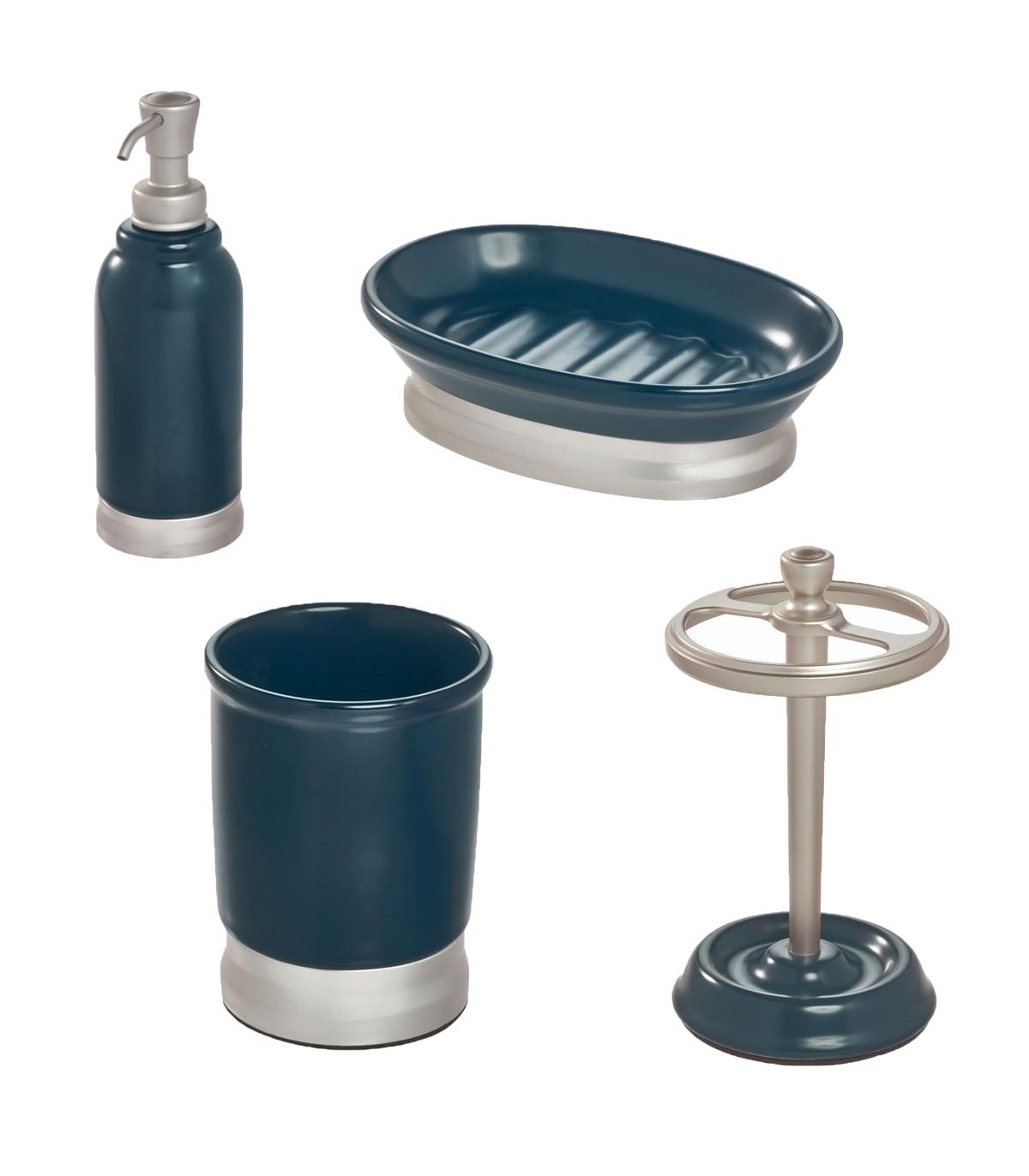 Ensemble d'accessoires de lavabo pour salle de bain - Bleu