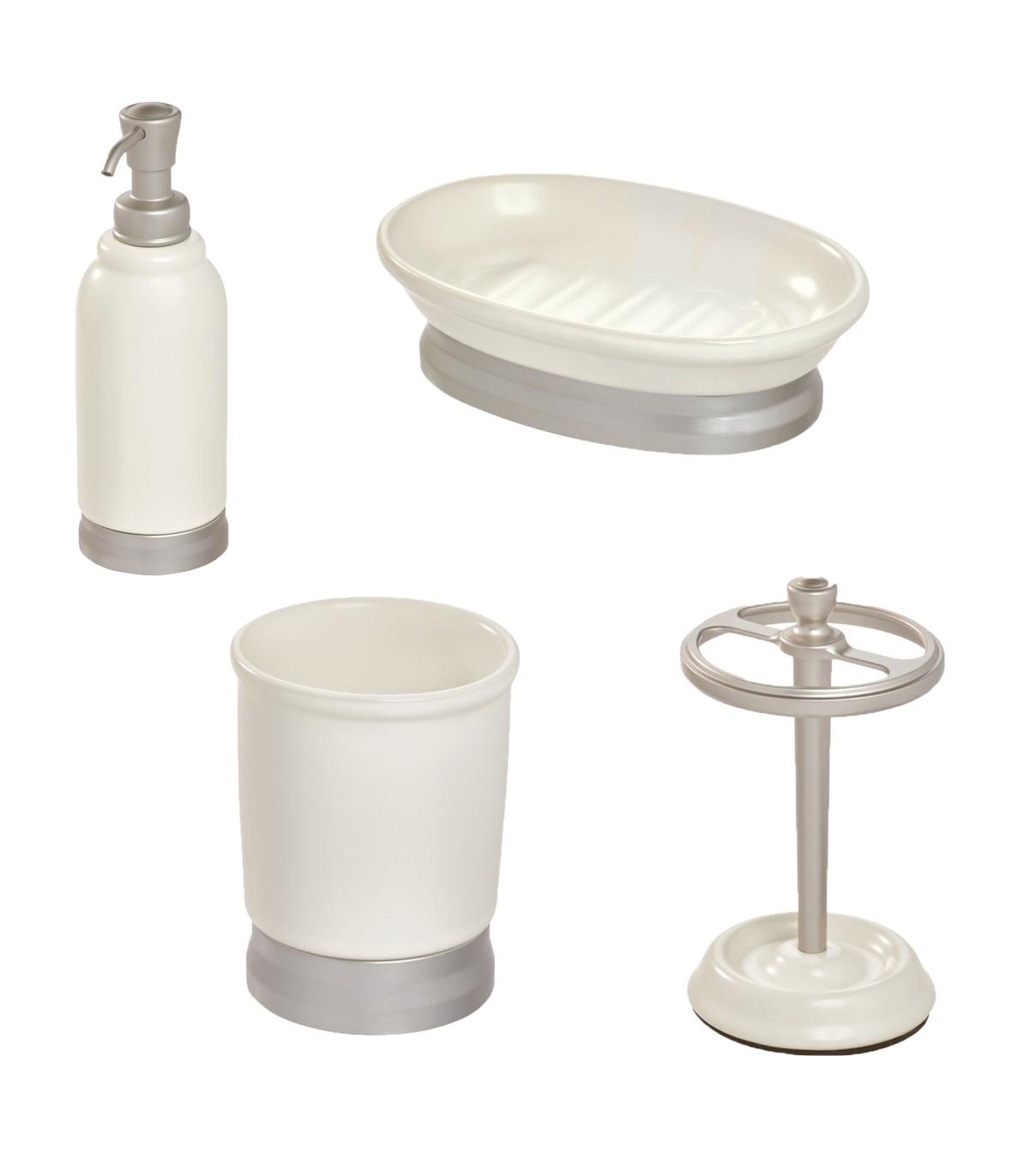Ensemble d'accessoires de lavabo pour salle de bain - Blanc