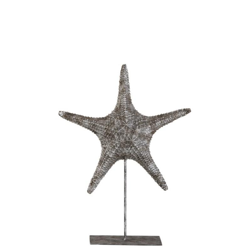 Etoile de mer sur pied résine gris/argent H37,5cm