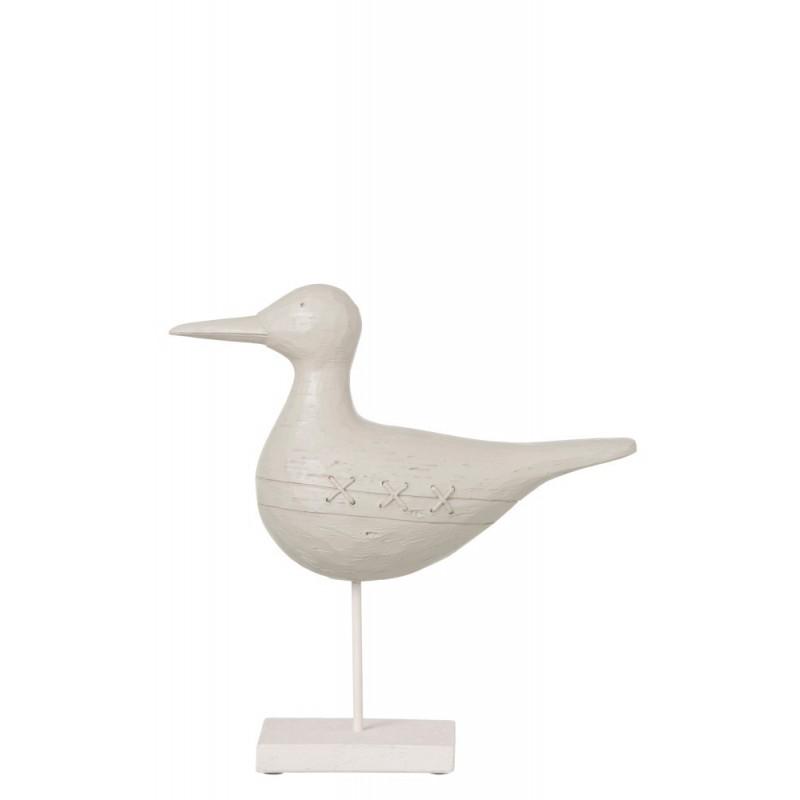 Oiseau sur pied résine blanc H31cm
