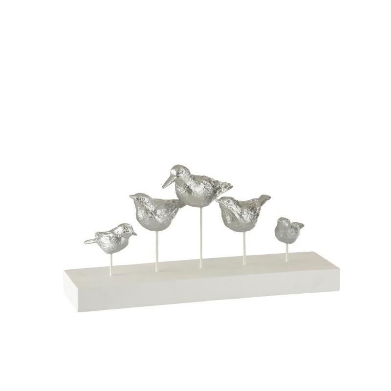 Oiseaux sur pied résine argent H17,4cm