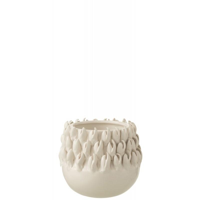 Cache-pot céramique blanc H14,5cm