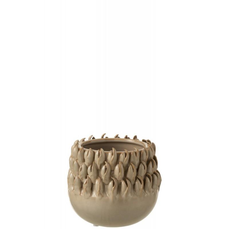 Cache-pot céramique gris H14,5cm