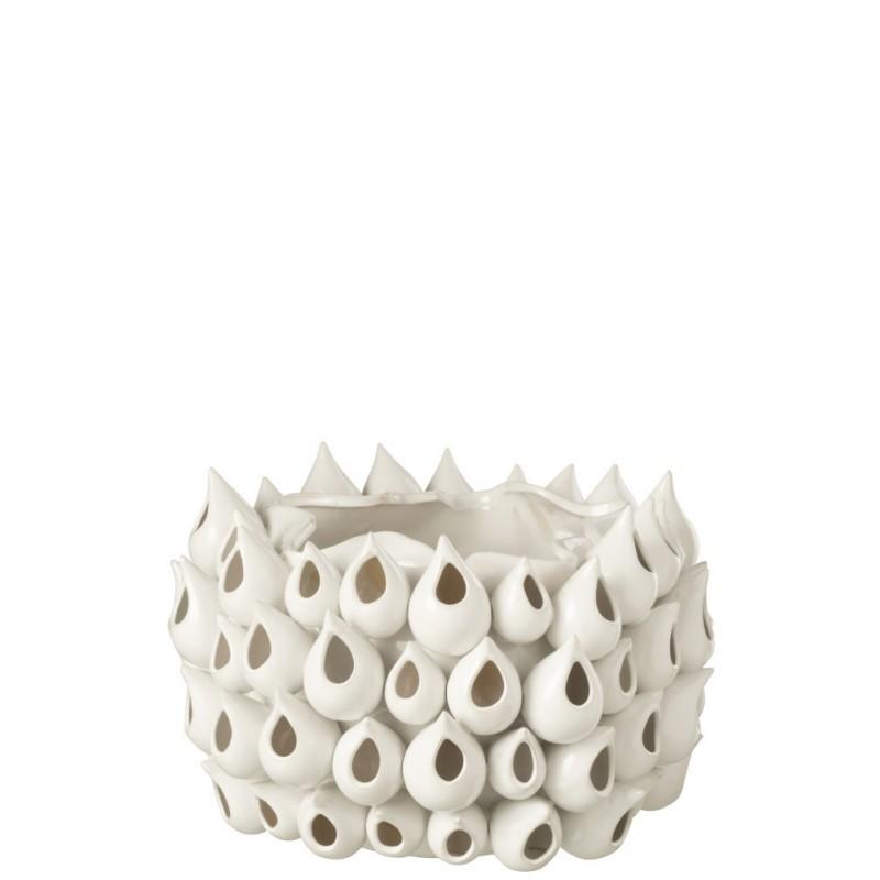Cache-pot céramique blanc H24cm