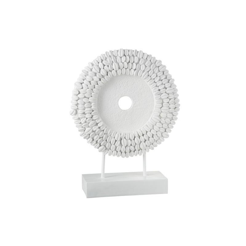 Cercle sur pied coquillages résine blanc H48cm