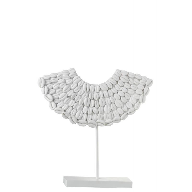 Coquillages sur pied résine blanc H34,5cm