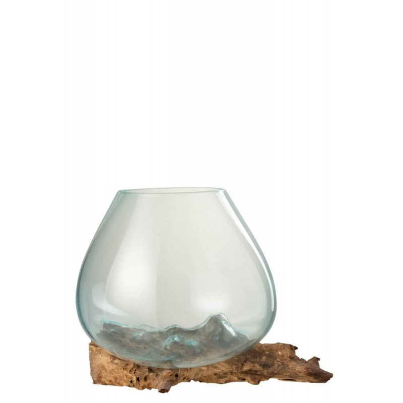 Vase bois/verre transparent H24,5cm