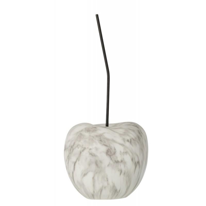 Cerise effet marbre résine blanc/gris H22cm
