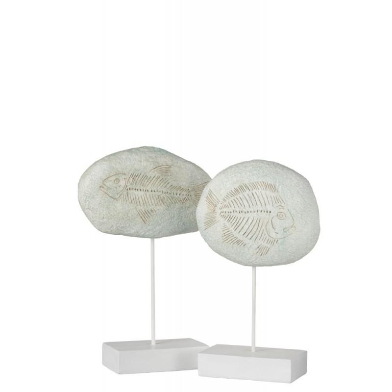 Fossiles poissons sur pied résine blanc H37cm - Lot de 2