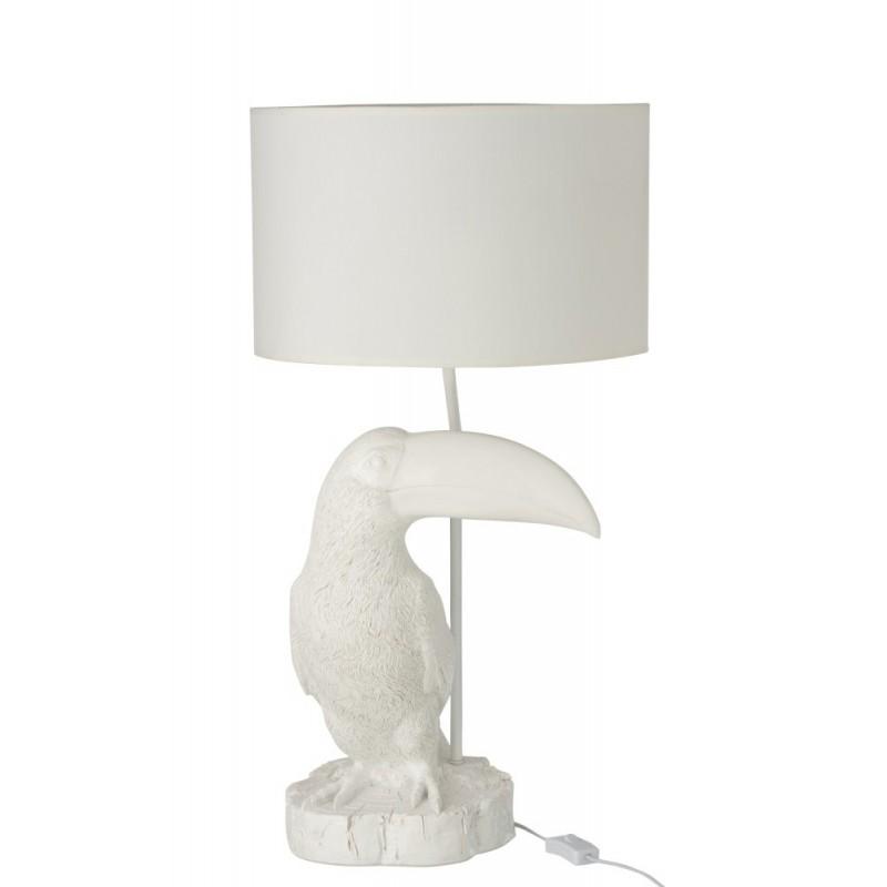 Lampe toucan résine blanc H70,5cm