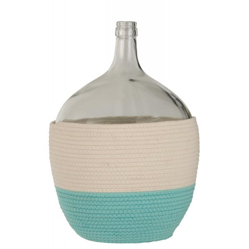 Bouteille coton/verre blanc/azur H53cm
